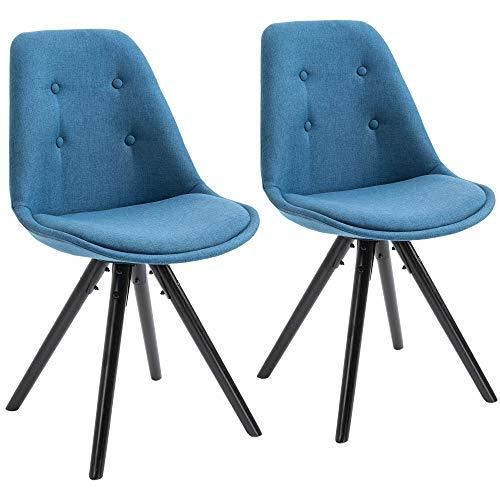 homcom Set 2 Sedie Imbottite per Sala da Pranzo con Design Moderno ed Ergonomico in Legno Nero e Lino Blu, 48x56x87cm