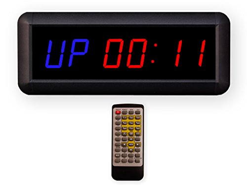 Eu 1.5' 6 Digits Interval Timer Programmable Led Countdown/Up Stopwatch For Home Garage Gym. (Blue/Red)
