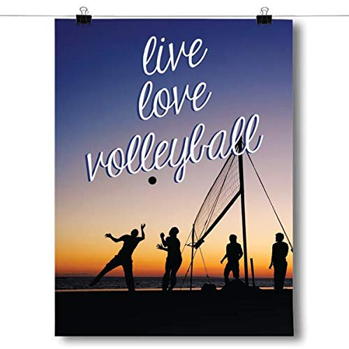 Inspired Posters - Live Love Volleyball Decorative Wall Art Poster - Modern Home Decor - Motivational Posters - UV Print 18 x 24 Poster
