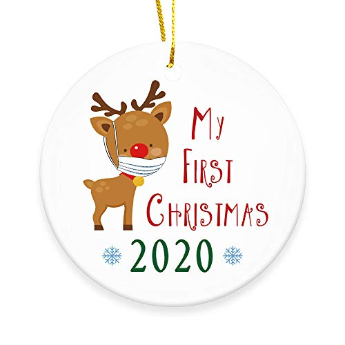 Ceramic Double-Sided Design 2020 Christmas Tree Ornaments Quarantine Gift | Social Distancing Funny Novelty | Ceramic Holiday Decor