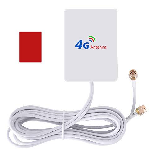 Aigital SMA 4G LTE Antenne 5dBi Dual Mimo SMA Antenna Booster mit 2m Kabel für 4G LTE WiFi Router Mobiles Hotspots Huawei B525, B715, Vodafone, Telekom Speedport LTE
