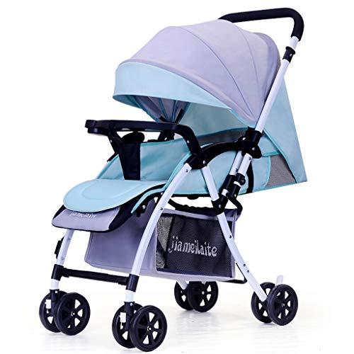 0-36 Monate Baby Kinderwagen 3 In 1 Kinderwagen Leichte Kinderwagen Reversible Stubenwagen Faltbare Infant Reise Buggy High-Carbon-Stahlrahmen (Farbe : Gray Blue)