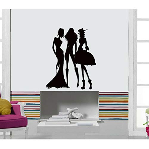 Kjlfow Moda Modelo Femenino Vinilo Pegatinas de Pared Tienda de Ropa Ventana Centro Comercial Pintura Decorativa Papel Tapiz para el hogar 113x140cm