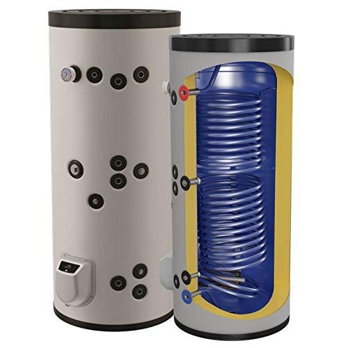 Kombinierter Warmwasserspeicher mit 2 Wärmetauschern - Standspeicher Boiler Kombispeicher Elektrospeicher - in der Größe 300 L Liter und 3-9 kW Elektroheizstab