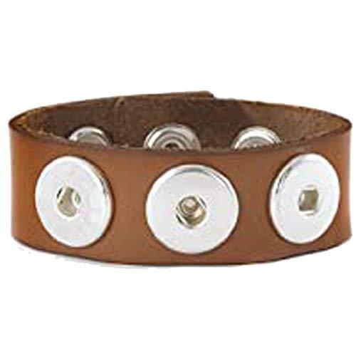 Sunsa Damen Click Buttons Leder Armband für Frauen/Herren/Mädchen Schmuck Boho Style Armreif für Druckknöpfe Chunks beste Geschenke für Freundin/Mama/Partner/Geburtstag. Hellbraun 70205 (26)