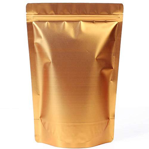 WRAPOK Sacchetti Zip Alimenti Richiudibili Lock Stand Up Di Alluminio In Di Grandi Dimensioni Riutilizzabile Golden Bag Per La Conservazione Degli, 7.5 x 11.4 Pollici, 16 Once, Confezione Da 25