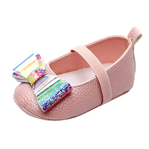 Zapatos De Bebé,Zapatos De Vestir De Lentejuelas Zapatos De Bowknot para NiñOs Zapatos De Bebé De Fondo Suave Zapatillas Antideslizantes Zapatos De Princesa Zapatos De NiñA con Bautizo Blanco 11-15EU