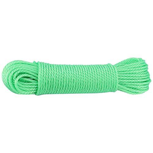 Duokon 40 m Cuerdas de Nylon Cuerda Cuerda para Tender la Ropa Cuerda para Colgar Ropa de Secado Jardín Acampar Aire Libre Viajar (Verde)