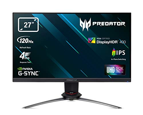 Acer Predator XB273KSbmiprzx 27 inch UHD Gaming Monitor, Black/Grey (IPS Panel, G-Sync, 120 Hz (144 Hz OC), 4ms, HDR 400, Quantum Dot, DP, HDMI, USB Hub, Height Adjustable Stand)