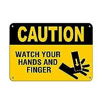 注意指と手に注意してください メタルポスター壁画ショップ看板ショップ看板表示板金属板ブリキ看板情報防水装飾レストラン日本食料品店カフェ旅行用品誕生日新年クリスマスパーティーギフト
