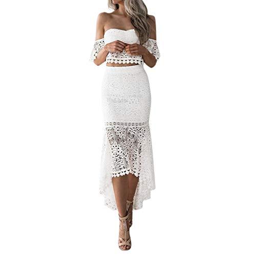 SEWORLD Falda lápiz sin Espalda con Espalda de Tubo de Encaje de Verano para Mujer Vestido