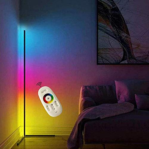 Esquina LED Lámpara De Piso Minimalismo Que Cambia De Color Luz De Ambiente De Pie Brillo Ajustable para La Decoración De La Sala De Estar del Dormitorio del Restaurante