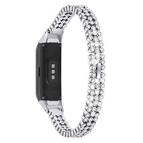 "MVRYCE Galaxy Fit SM-R370 Fitness Armband, Edelstahl Strassbänder Elegante Damen Schmuck Armband 5,5""-8,1"" Ersatz Armband Armband Kompatibel für Samsung Galaxy Fit SM-R370 (Silber)"