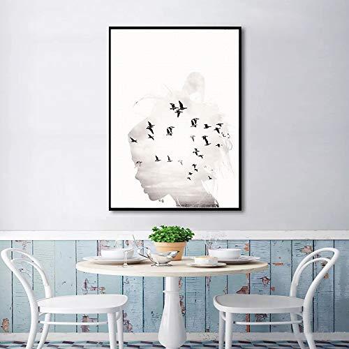 tzxdbh zwart en wit meisje muur kunst vogels hoed en poster en afdrukken canvas schilderij foto's voor woonkamer Scandinavische decoratie huis