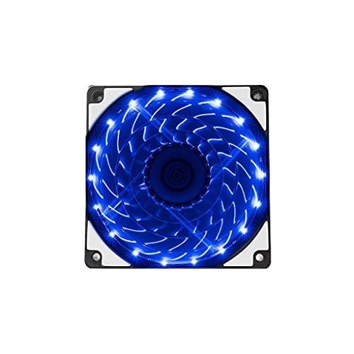 Ventilador de larga vida útil con cojinete de la carcasa del ordenador Ventilador de almohadillas de goma supersilenciosas para computadora LED Cooler para computadoras de escritorio (color: azul)