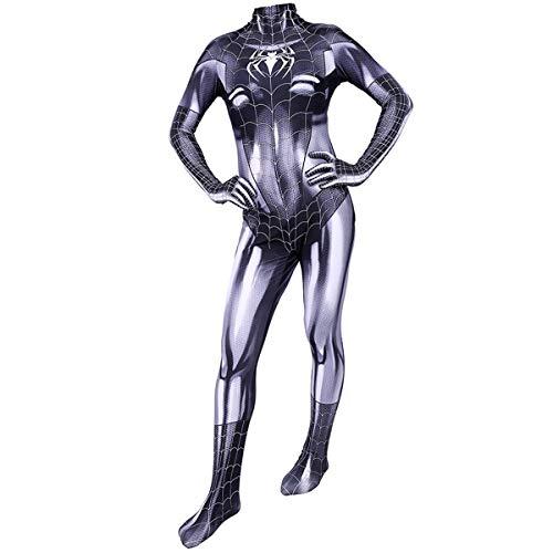 FHTD Marvel Spiderman Cosplay Disfraz Juego de películas Héroe Disfraz Disfraz Navidad Halloween Monos Spandex Monos,Gris,ChildXS