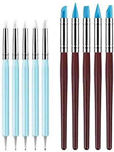 VieVogue 10 Stück Silikon-Ton Modellierwerkzeug Punktierwerkzeug und Töpferei Silikon-Pinsel für Modelliermasse Modelliermasse Nagelkunst