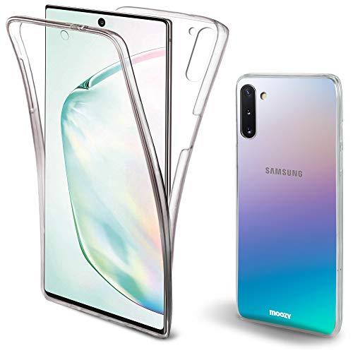 Moozy 360 Grad Hülle für Samsung Note 10 - Vorne und Hinten Transparenter TPU Ultra Dünne Weiche Silikon Handyhülle Case