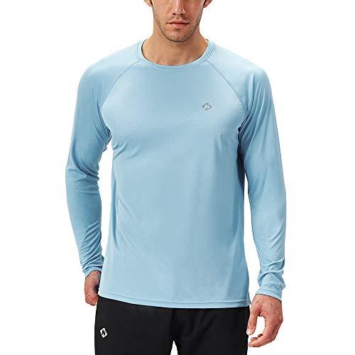 NAVISKIN Camiseta Deportiva Protección UV UPF 50+ Manga Larga Cuello Redondo para Hombre Acampada Senderismo Elástica Térmica Casual Transpirable (Azul Claro, M)