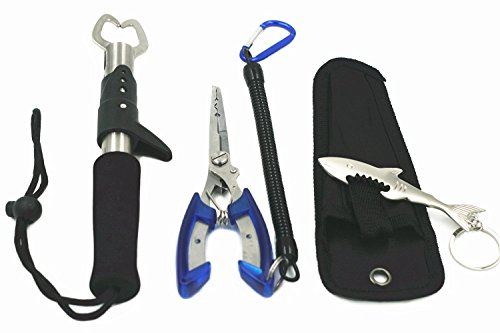 Set di attrezzi, tra cui un anello a spirale e utensile per la rimozione di ami, e pinze da pesca in acciaio inossidabile con cordino facile da usare con una mano