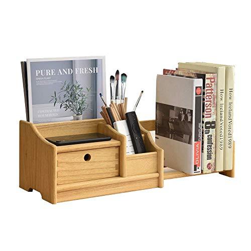 Organizer da scrivania in legno completamente assemblato, scaffale regolabile per libri da ufficio con cassetti – libreria espandibile