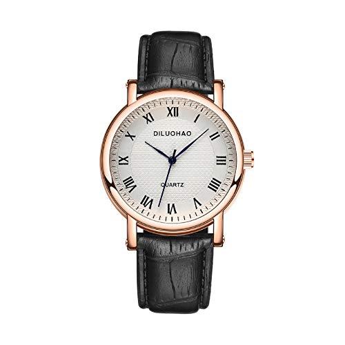 JZDH Relojes para Mujer Ver Mujeres Roman Numeral Escala de Acero Inoxidable Dials Ladies Reloj de Pulsera Relojes de Cuero de imitación Relojes Decorativos Casuales para Niñas Damas (Color : A)