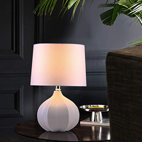 SEVETILKA Modern Style Decorative Golden Metal Base Living Room Bedroom Bedside Table Lamp,Table Lamp with White TC Cylinder Fabric Lampshade