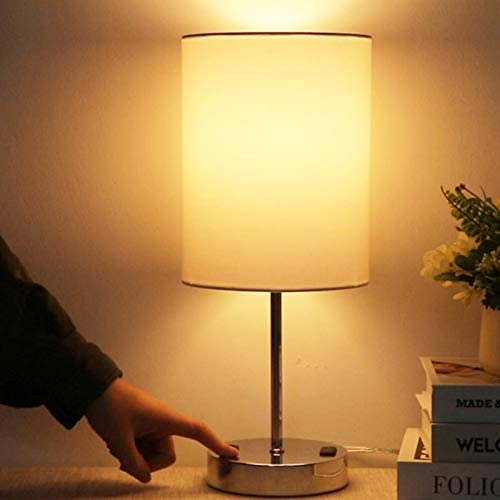 Touch Control Beside Table Lamp with USB Type C Charging Ports 3 Way Dimmable Nightstand Lamp product image