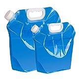 Recipiente para Agua de Aboat,2 PCS 5L + 10L Garrafa Aire Acondicionado Portador de Agua Portátil Bolsa de Almacenamiento Plegable Deposito Agua Bidón de Agua para Deportes Camper Senderismo Barbacoa