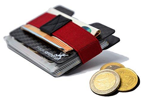 Tarjetero de carbono resistente, de alta calidad, de 1 a 16 tarjetas y billetes, 1 funda de carbono para tarjetas con compartimento para monedas y tarjeta multiherramienta, protección RFID NFC (Negro) - MOTR-CF-CHMT-01