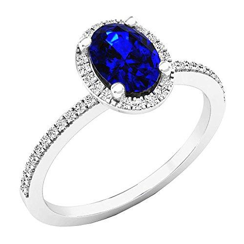 Dazzlingrock Collection Anillo de compromiso de oro blanco con halo de diamantes redondos y zafiro azul ovalado de 14 quilates, 7 x 5 mm, talla 7