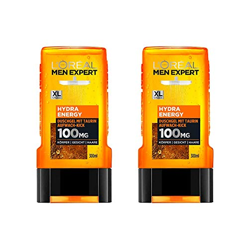 L'Oréal Men Expert Hydra Energy Taurin Duschgel, Minz-Extrakt belebt und regeneriert die Haut (Gesicht, Körper und Haare) sanft ohne auszutrocknen (2 x 300 ml)