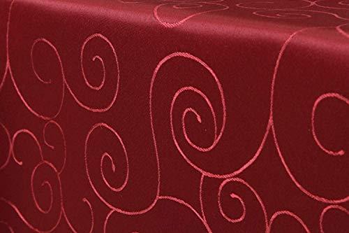 First-Tex Ornament Damast Tischdecke eckig 90x90 cm, rot, Pflegeleicht, Hochwertig, Bügelarm, Schnelltrocknend, Farbecht