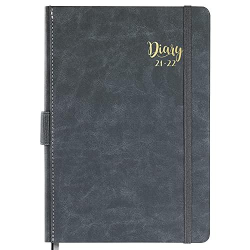 Kalender 2021-2022 A5 - Juli 2021 - Juni 2022, Terminkalender 2021-2022, Daily Planner, Diary, Leder-Hardcover mit monatlichen Laschen und Innentasche, 14,8 cm × 21,4 cm-grau