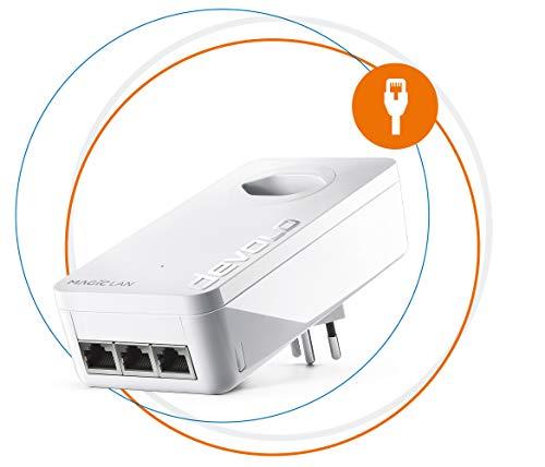 Devolo Magic 2 LAN triple: Aanvullende adapter voor stabiel thuisnetwerk via stroomkabel door muren en plafonds, G.hn-technologie, 3 Gigabit LAN-aansluitingen, Zwitserse stekker