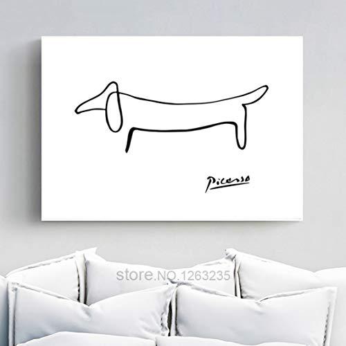 Danjiao Picasso Abstrakte One Stroke Nordic Poster Wandkunst Poster Bild Hund Leinwand Malerei Schlafzimmer Wohnkultur Wohnzimmer Ungerahmt Wohnzimmer 40x60cm