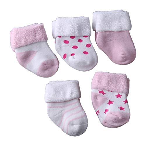 YO-HAPPY Calcetines para bebé, 5 Pares Calcetines cálidos para bebé Espesar algodón Terry Medias para niños recién Nacidos Medias para pies