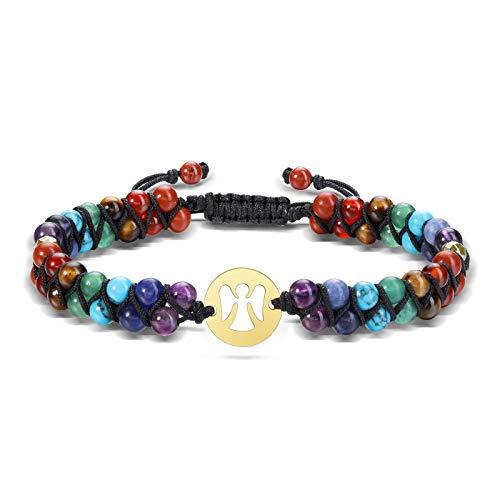 CrystalTears Chakra Armband Doppelschicht geflochten Armreif mit OM Ornament Edelstein Perlenarmband Energietherapie Yoga Esoterik Schmuck(Engel)