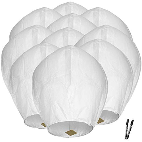 Maylai Handmade 10PCS White Flying Paper Chinese Wish Lanterns for Birthday Wedding Party Anniversary Chinese Lanterns Assorted Colors 100% Biodegradable Environmentally Friendly (Color26)