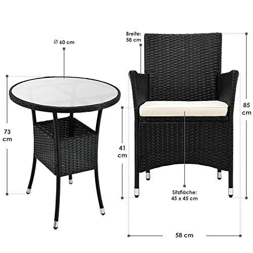 ArtLife Polyrattan Balkon Set Bayamo 2 Personen – Tisch mit Glasplatte & 2 Stühlen – Wetterfeste Balkonmöbel – Auflagen waschbar – schwarz - Creme - 4