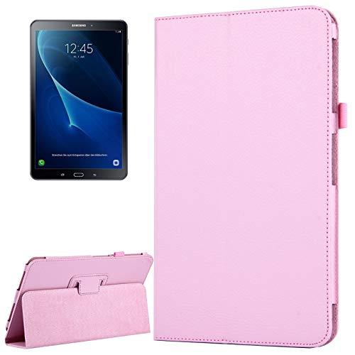 JIANGHONGYAN para Samsung Galaxy Tab A 10.1 / T580 Litchi Textura magnética Horizontal Flip Funda de Cuero con Soporte y función de Reposo/Despertador (Color : Rosado)