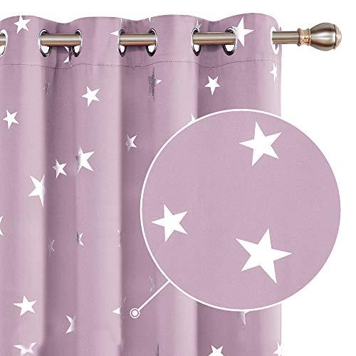 Deconovo Cortinas de Salon para Ventana Habitación con Aislamiento Térmico Anti Ruido Infantiles Estrellas Plateada 140 x 240 cm Rosa Claro
