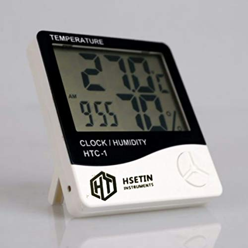 KERRO HSETIN Digital Thermometer Hygrometer, Accurate Room Temperature Gauge Humidity Monitor with Alarm Clock , Easy to Read, Max/Min Records, LCD Display for Home Office (White)