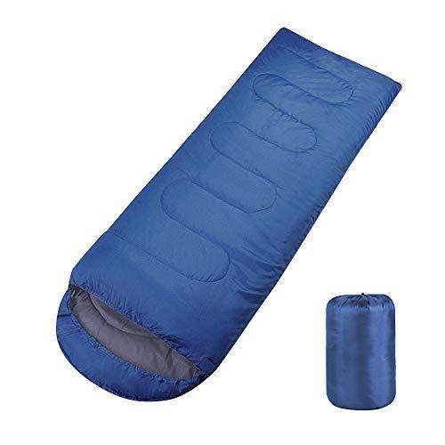 "Boshen 3 Season Waterproof Sleeping Bag 82.7"" x 29.5"" with Carry Bag-2.2Ibs Ultralight 41℉-68℉ Envelope Sleeping Bag Hollow Cotton Filled for Adults Kids Camping/Hiking/Backpacking (Blue)"