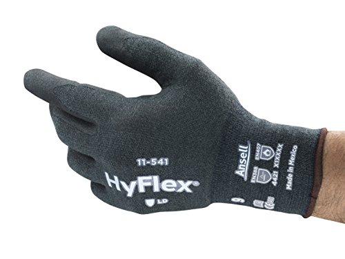 Ansell HyFlex 11-541 Guantes de Trabajo de Kevlar, Anticortes, Guante Mecánico con Tecnología de Agarre y Confort Mejorados, Gris, Tamaño 9 (12 Pares)