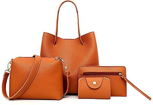 Carmer Bolso de mano para mujer, bolso de mano para mujer, grande, piel sintética, con asa, elegante, bolso bandolera, resistente al agua, juego de 4 piezas, color Naranja, talla 1