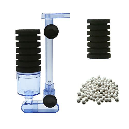 Boxtech Filtro de acuario, accesorios de filtro de acuario, filtro silencioso de esponja bioquímica orgánica de una sola cabeza adecuado para acuarios grandes y pequeños