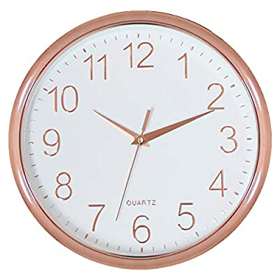 Foxtop Decorative Wall Clock, 11 inch Silent Non-Ticking Quartz Battery Operated Wall Clock for Living Room Bedroom Home Office School (Rose Gold Plastic Frame, Glass Cover, Arabic Numeral)