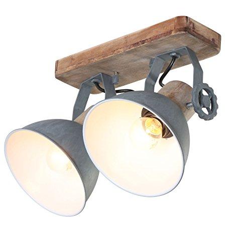 Plafondlamp 2er Spot Steinhauer 7969GR Wandlamp Vintage E27 rustieke houten metalen spot