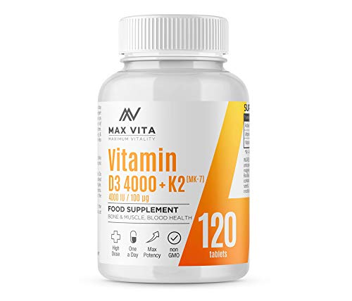 Vitamin D3 4000 IU K2 MK-7 100mcg High Strength VIT D3 K2 Menaquinone from Natto Bones Muscle Teeth Blood Calcium Levels Immune System Support 120 Tablets